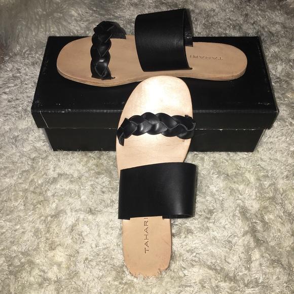 Black Naviah Leather Sandals Sz